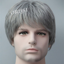 High Quality Kanekalon Puffy Men Grey Wig Synthetic / Fake Hair Pieces Short Natural Perruque For White Man