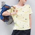 Toyouth verão encabeça mulheres padrão de bordado o-pescoço manga curta t-shirt frouxo casual ropa mujer