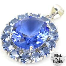 Real 925 Solid Sterling Silver 3.9g Blue Violet Tanzanite  SheType Present Pendant 27x19mm