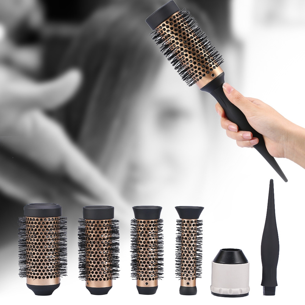 4 Sizes Ceramic Ionic Comb Round Curly Combs Iron Dressing Brushes Curly Hairbrush Hair Salon Tool With 3pcs Replaceable Heads