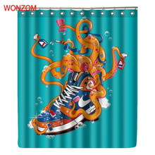 WONZOM 3D Animal Shower Curtains Bathroom With 12 Hooks Waterproof Accessories For Decor Modern Polyester Octopus Bath Curtain цена 2017