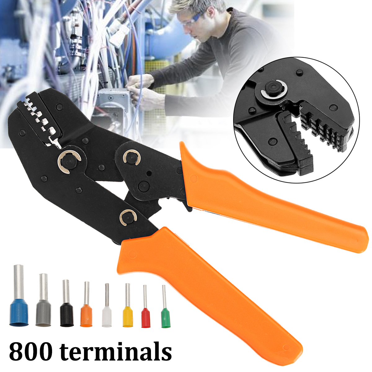 High-quality Electrical Ratchet Crimping Pliers Tool with 800Pcs Wire Stripper Crimper Terminal Kit Hand Tool Sets newacalox multifunction self adjustable terminal tool kit wire stripper crimping pliers wire crimp screwdriver with tool bag