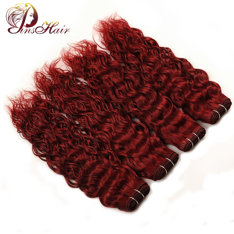 Pinshair Burgundy Bundles 99J Water Wave Indian Hair 4 Pcs Bold Red 100% Human Hair Weave Extensions 10-26 Inches Non Remy Hair ...