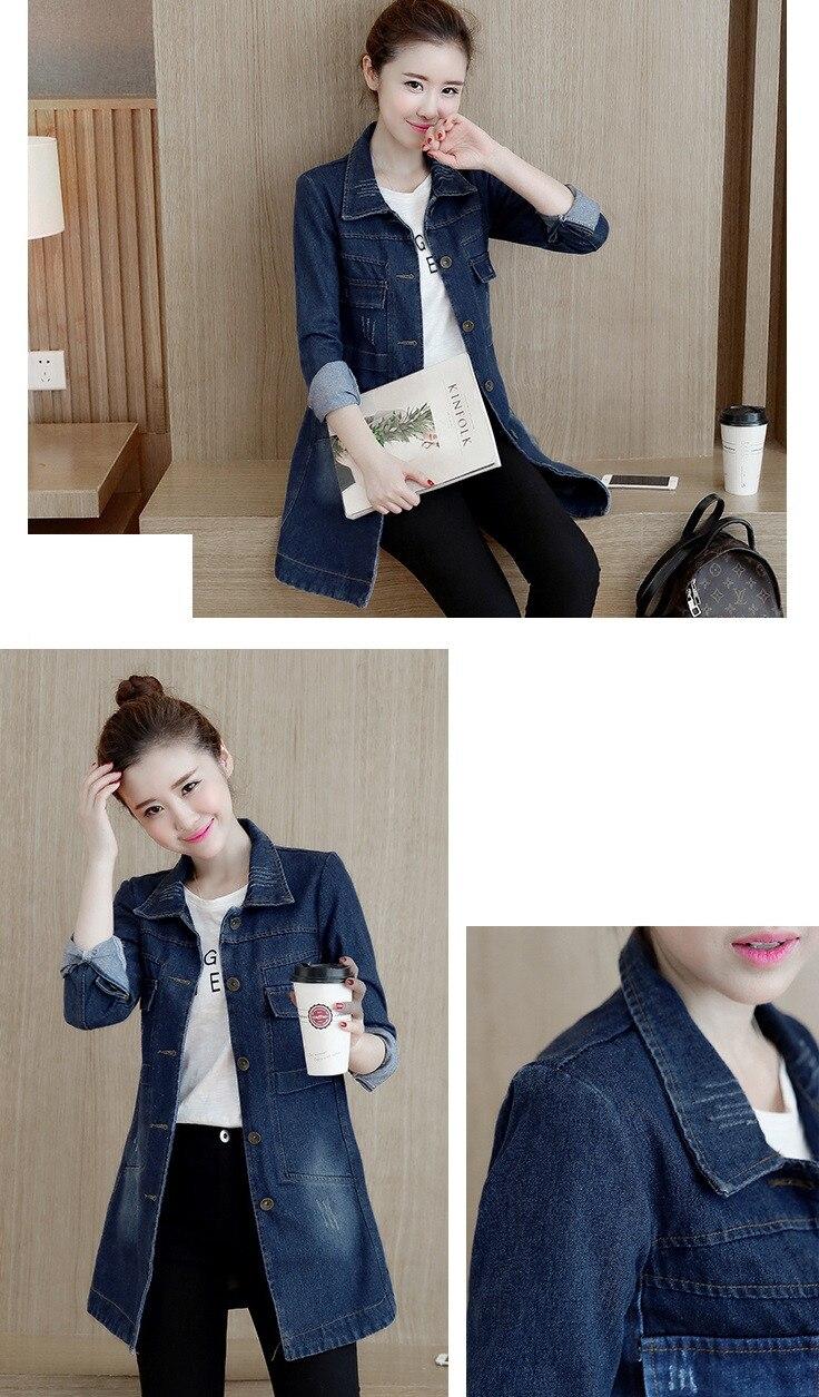 HTB19BRtg98YBeNkSnb4q6yevFXaY Autumn Winter Korean Denim Jacket Women Slim Long Base Coat Women's Frayed Navy Blue Plus size Jeans Jackets Coats Cool 5XL A364