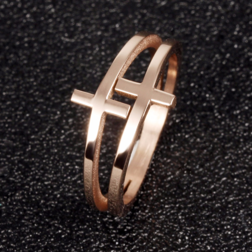 Womens Rose Gold Color Dainty Double Cross Stacking Rings in Stainless Steel
