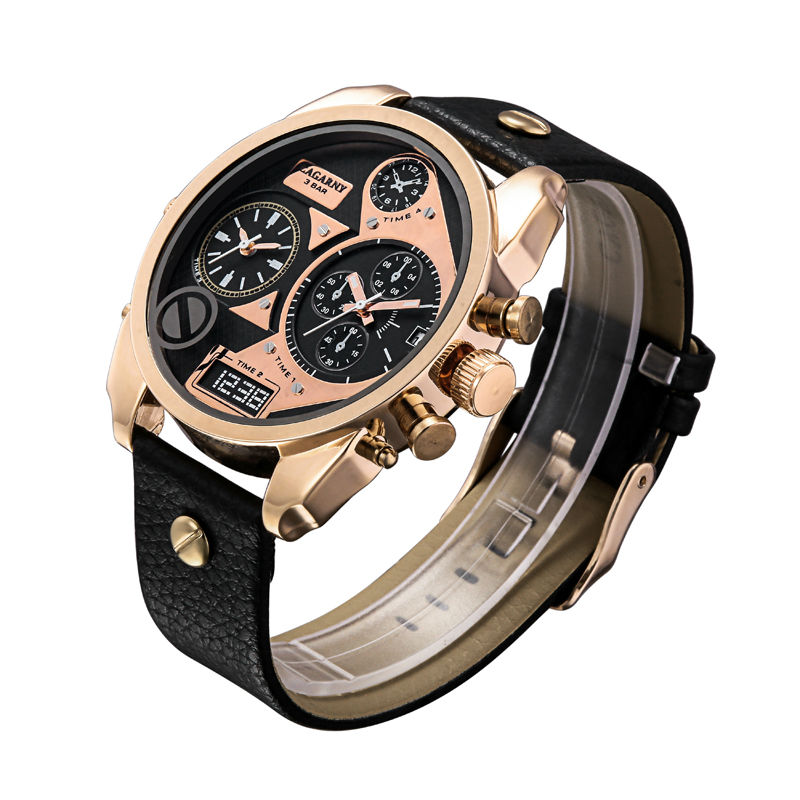 Cagarny Watch Men Quartz Watches Men Rose Gold Case Men's Wristwatches Leather Watchband Dual Time Zones Military Reloj Hombre cagarny fashion watch women rose gold men s quartz watches men casual wristwatches for lovers unisex nylon strap reloje mujer