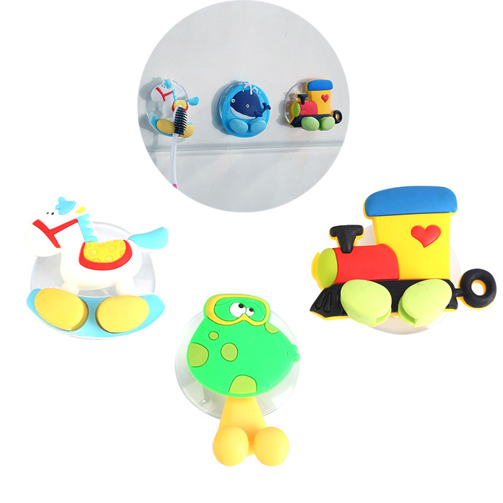 New Cute Cartoon Sucker Toothbrush Holder Suction Hooks Bathroom Set Accessories Eco-Fri ...