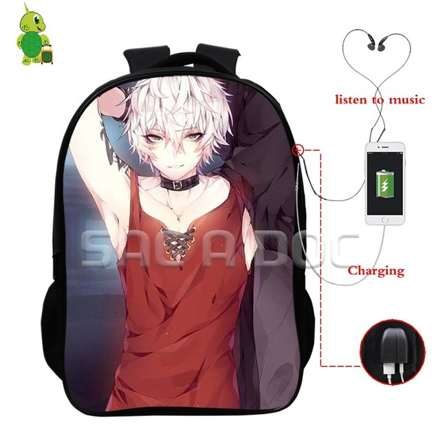 747d2d6efe Anime Mystic Messenger Backpacks Multifunction USB Charge School Backpack  for Teenage Boys Girls Laptop Backpack Travel Bags
