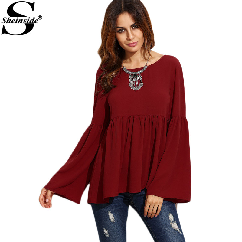 Online buy wholesale burgundy blouses from china burgundy for Tops shirts and blouses