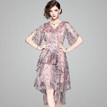 Summer dress new arrival womens light luxury temperament chiffon printing ruffle irregular 80616