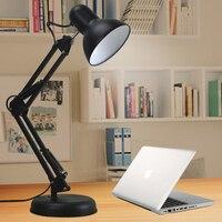 4PCS Flexible Desk Lamp Long Swing Arm Led Desk Lamp Metal Architect Adjustable Folding Twin Arm Led Table Lamp Reading