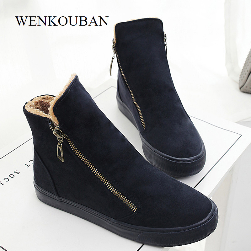 Image 5 - Fashion Winter Shoes Women Sneakers Boots Flock Warm Fur Snow Ankle Boots Women Double Zipper Antiskid Ladies Shoes Botas MujerAnkle Boots   -