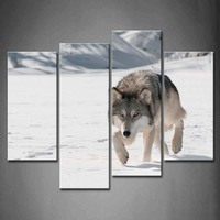 Framed Wall Art Pictures Wolf Winter Snowfield Canvas Print Artwork Animal Posters With Wooden Frames For Living Room