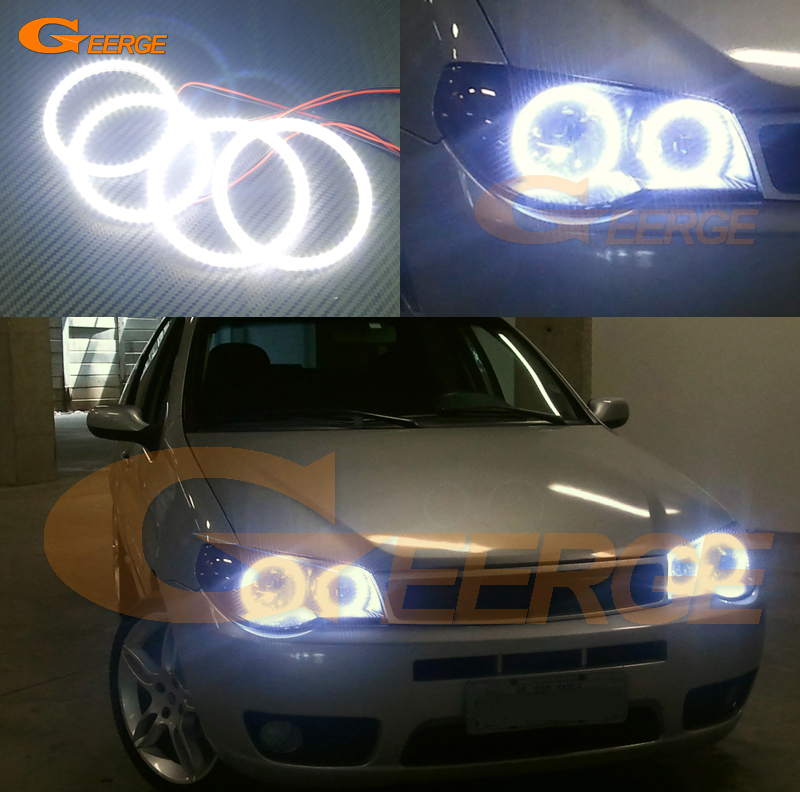 For FIAT PALIO 2004 2005 2006 headlight Excellent angel eyes Ultra bright illumination smd led Angel Eyes kit DRL Halo Ring