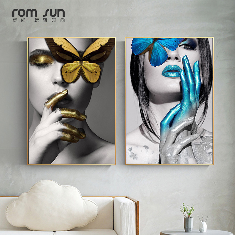 Abstract Wall Art Pictures Fashion Woman butterfly Lips Gold And White Black Modern Home Canvas Painting Beauty Decor Posters web page