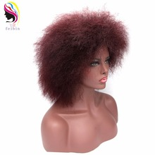 Free Shipping 12 inches Black Afro Wig For Women Short Kinky Curly Hair Synthetic Wigs Female Full Head Cosplay 100g
