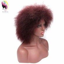 Feibin Afro Wig For Black Women Short Kinky Straight Hair Synthetic Red Black Full Head 12inches 100g