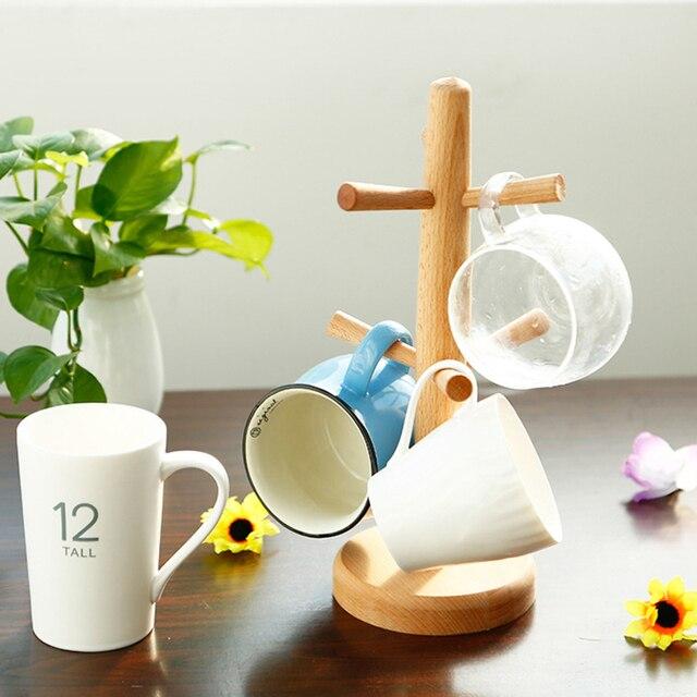 1 Set Tea Cup Storage Rack 6 Hook Mug Cup Holder Mug Display Beach Wood  Elegant