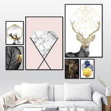 Marbled Diamond Abstract Deer Leaf Quote Wall Art Canvas Painting Nordic Posters And Prints Wall Pictures For Living Room Decor(China)