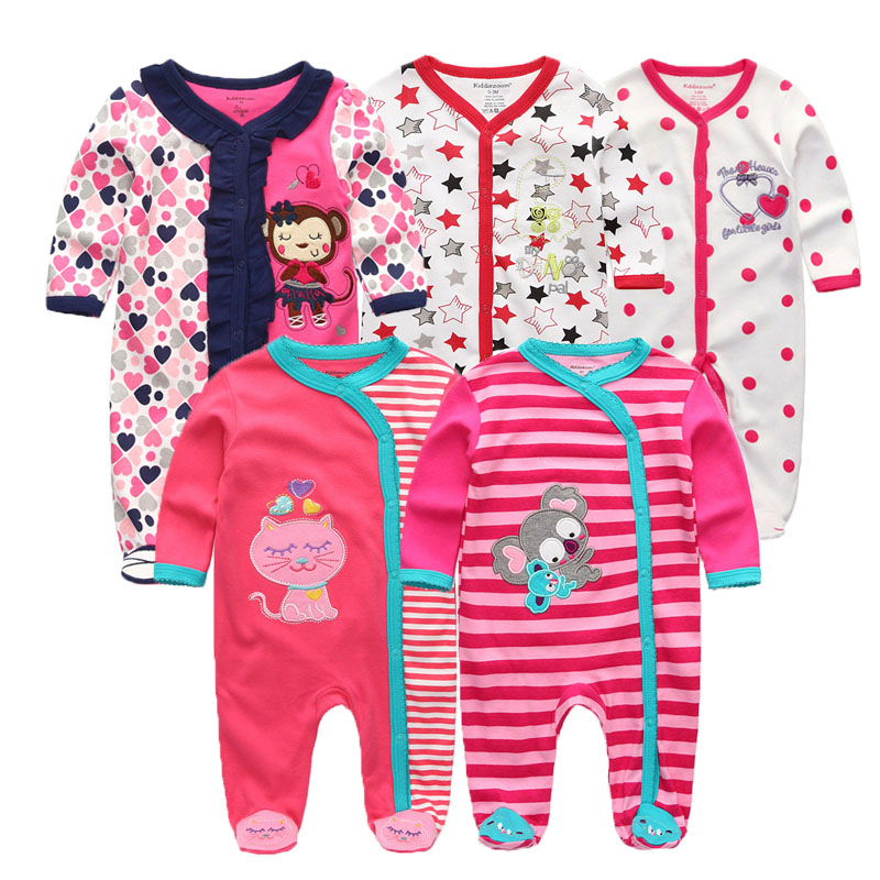 newborn baby Sleepwear full Sleeve 100%Cotton baby jumpsuit O Neck 0 12M baby girl pajamas roupa bebe baby clothes-in Robes from Mother & Kids    2
