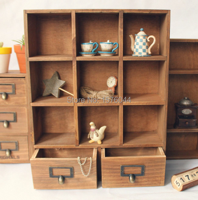 1PC Zakka Vintage Storage Box 9 Cases+2 Drawers House Organizer Sundries  Make Up Wooden