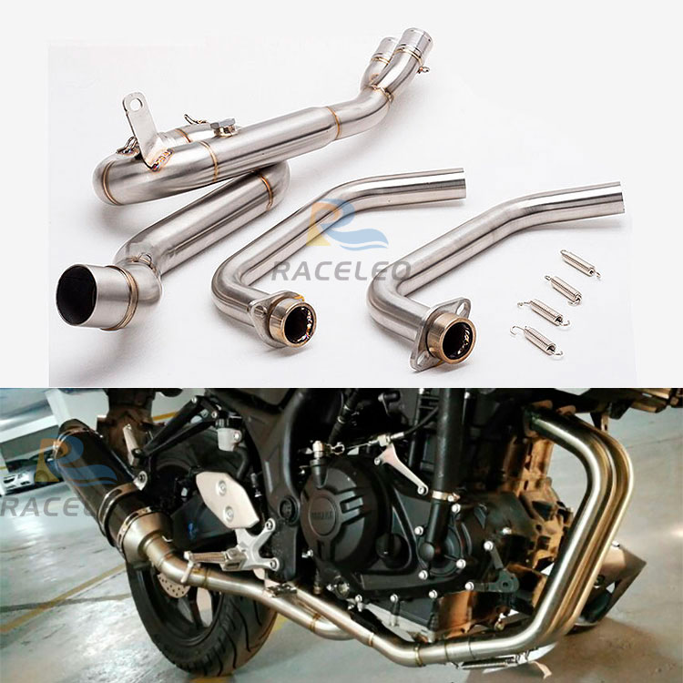 motorcycle <font><b>exhaust</b></font> link pipe mid pipe stainless steel fit for 51mm <font><b>exhaust</b></font> Convertor Adapter R25 MT03 <font><b>R3</b></font> front pipe <font><b>R3</b></font> <font><b>exhaust</b></font> image