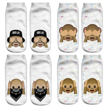 Funny Emoji Monkey 3D Printed Sock Women Low Cut Ankle Socks Calcetines Hosiery Meias White Casual Sock