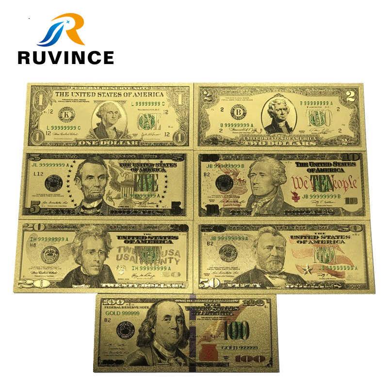 Фото 7 шт./компл. Позолоченные долларовые банкноты 1/2/5/10/20/50/100 доллар Золотой