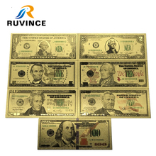 7PCS/Set Gold Plated Dollar Banknotes 1/2/5/10/20/50/100 Antique USA Souvenir Fake Money Home Decoration
