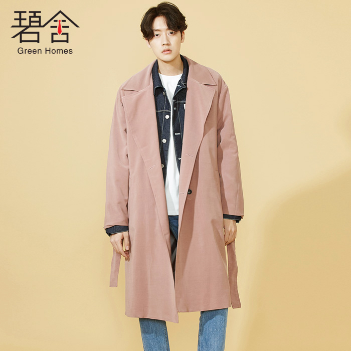 S-6XL!!Autumn male trench long loose personalized design lacing fashion outerwear pink