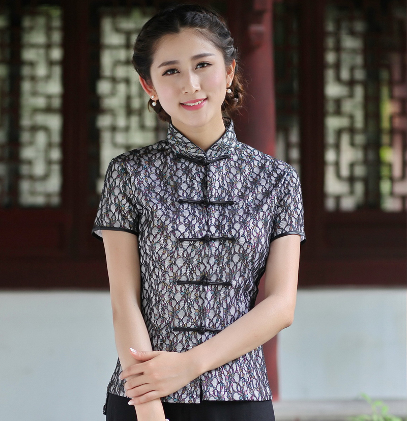 Fashion Women's Black Lace Vintage Summer Blouse Hot New Short Sleeve Shirts Sexy Slim Flower Tops Size M L XL XXL XXXL 2520-4