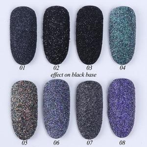 Image 4 - 1 Box czarny biały paznokci Glitter zanurzenie proszek błyszczący Pigment pył Laser cukier Nail Art cekiny Glitters dekoracje Manicure TRMN