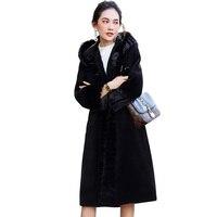 Настоящее меховое пальто из норки, Меховая куртка, шерстяное пальто, овчина, зимнее пальто, женское 2018, корейские черные длинные топы, больши