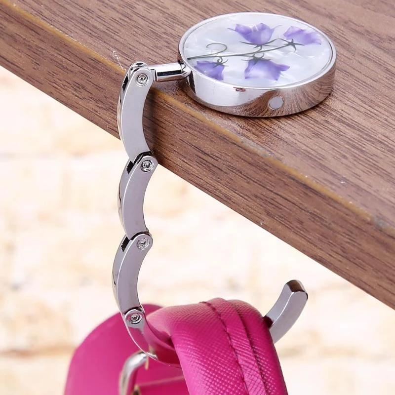 Foldable Handbag Hanger 3 Pcs//Lot Shiny Handbag Hook Folding Bag Table Holder Durable Bag Holder Magnetic Purse Hook Portable