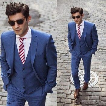 Blue Wedding Casual Suit Men Groom Tuxedos Men Suits Two Button Wedding Suits for Men Groomsman Suits Jacket+Pants+Vest Custom