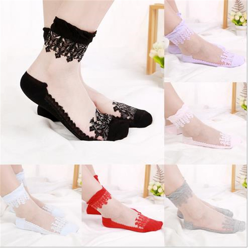 10pairs/lot Lace Flower Side Socks Transparent Invisible Socks Non - Slip Crystal Socks Thin Glass  NW0019
