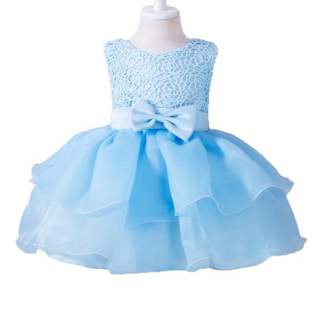 2017 New Infant Baby Girls Sleeveless Flower Lace Tutu Dresses vestidos Todler Kids Cute 1 Year Birthday Wedding Party Dress