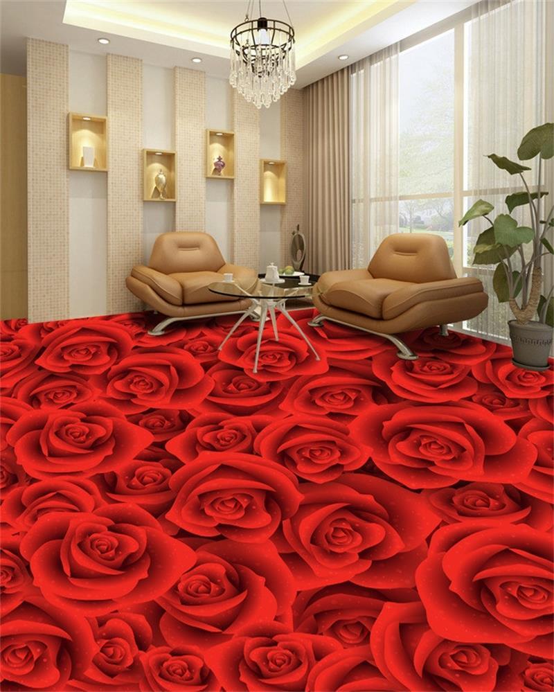 Red Wallpaper For Bedroom Aliexpresscom Buy Custom 3d Hd Photo Floor Wallpaper Muarl Big
