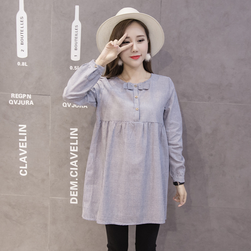 c4c60556e9 9019 2016 maternity clothing autumn tiebelt expansion bottom stripe long  sleeve shirt dress-in Blouses   Shirts from Mother   Kids on Aliexpress.com  ...