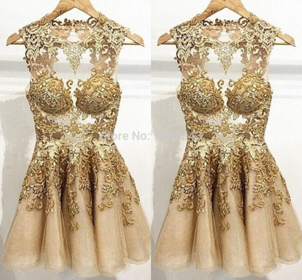 Fashionable 2015 Cocktail Dresses Gold Applique A Line Homecoming ...