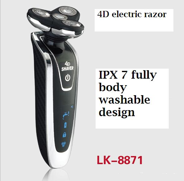 3D washable electric shaver razor rechargeable man beard trimmer mustache cutting clipper Men Cordless triple floating shave