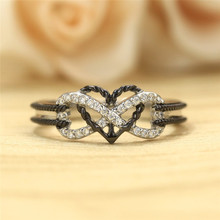 Wedding Engagement Ring CZ Love Two Colors Heart Infinity Rings for Women Cubic Zirconia Jewelry Fashion Accessories Gifts