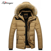 2017 High Quality Mens Warm Thick Cotton-Padded Winter Jacket Hooded Detachable Casual Big Size Stand Collar Coat Fashion Parkas цена 2017