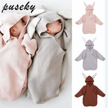 Вязаное детское одеяло Конверт для новорожденных милое детское Пеленальное Одеяло с кроличьими ушками для новорожденных пеленание кролика обертывание новорожденных реквизит для фотосъемки