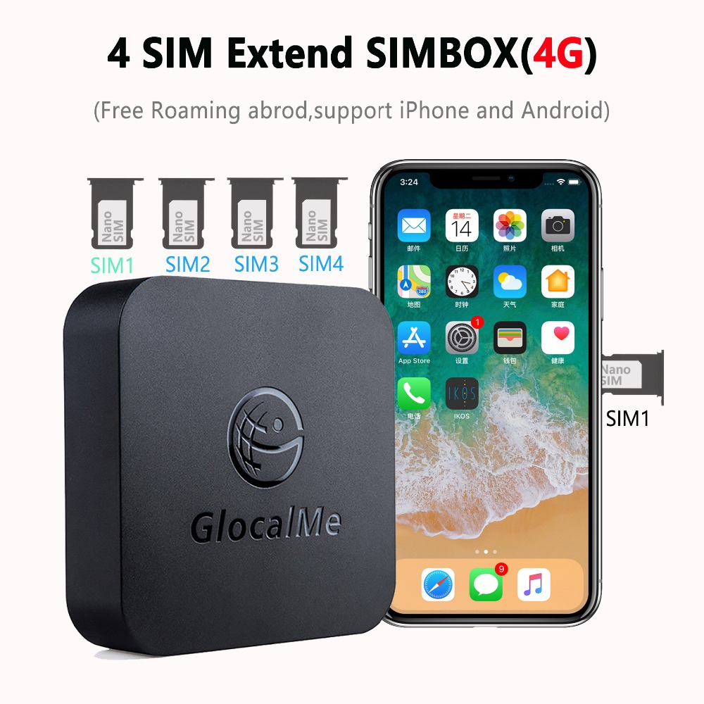 Multi 4 SIM Double Veille Pas Itinérance 4g SIMBOX pour iOS et Android, Pas Besoin de Transporter, travail avec WiFi/Données à Faire des Appels et SMS