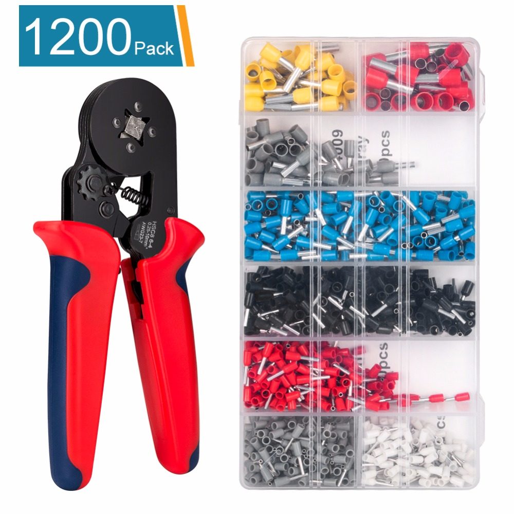 Crimp Pliers Crimping Plier 0.25-6.0mm2 23-10AWG HSC8 6-4 For Wire Ferrules,End Sleeves Electrician Hand Tool with 1200 x Tubes hexagon casing pipe plier for wire ferrules hsc8 6 6 special casing tube crimping crimping pliersend sleeves