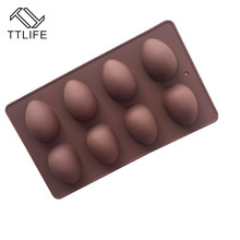 TTLIFE 8 Easter Egg Shape Silicone Mold Sugarcraft Soap Baking Mould Jelly Mousse Chocolate For Kitchen Bakeware Decoration Tool