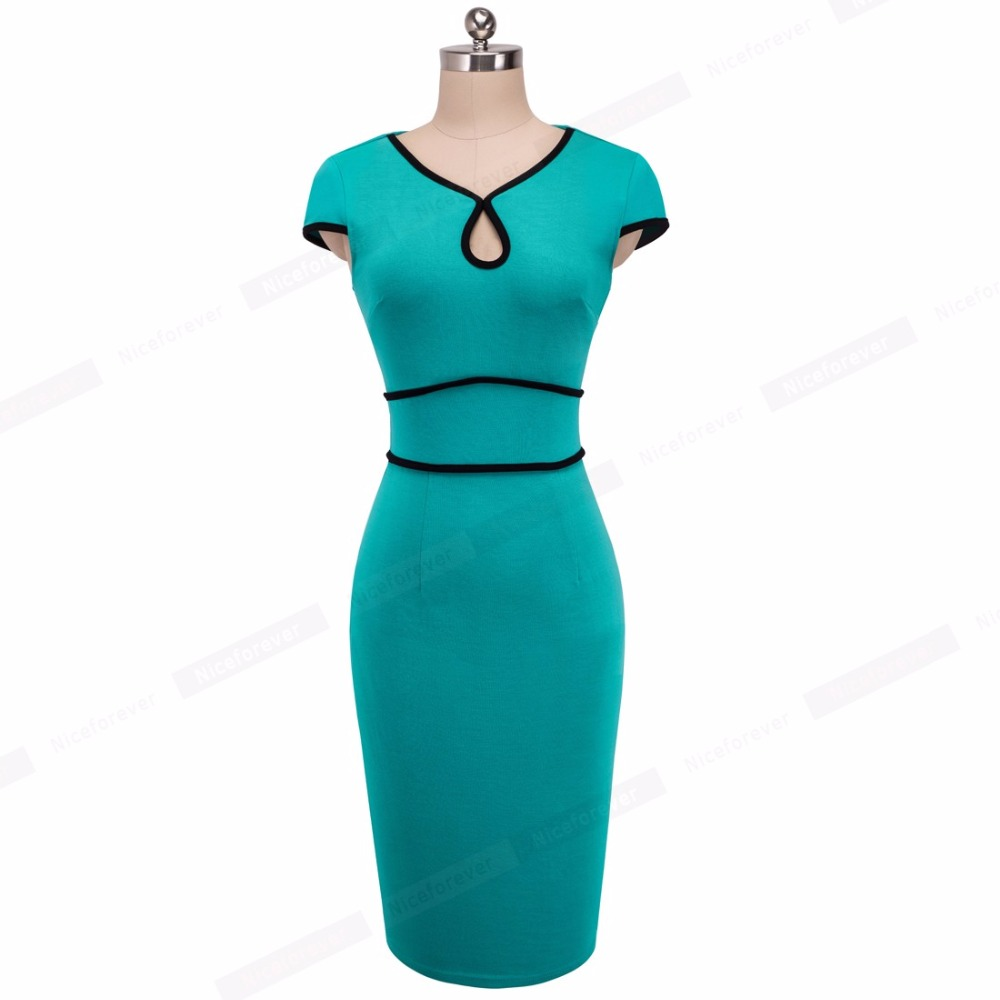 79f2f0b7b5729 US $16.99 |Nice forever Summer Vintage Solid Fresh Color Wear to Work Cap  Sleeve Bodycon Women Office Formal Business Dress B391-in Dresses from ...