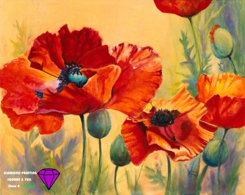Buy diy diamond painting flower diamond for Amapola jardin de infantes palermo
