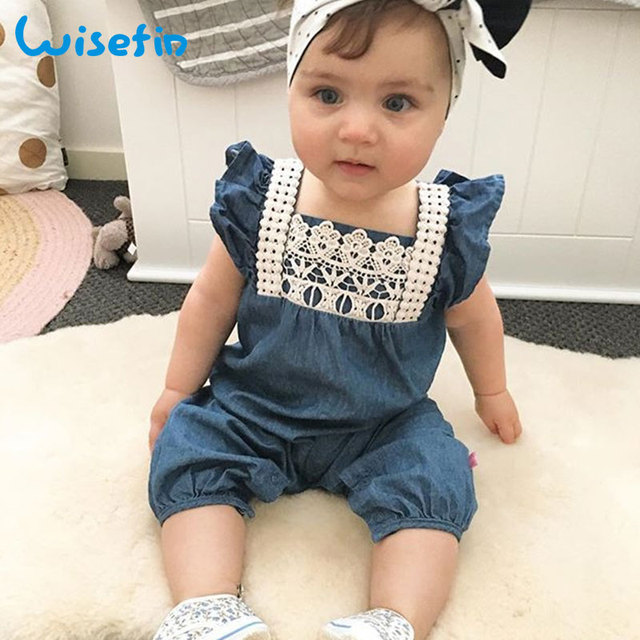 cd4247766 Wisefin Baby Girls Romper Denim Overalls Newborn Clothes Lace ...